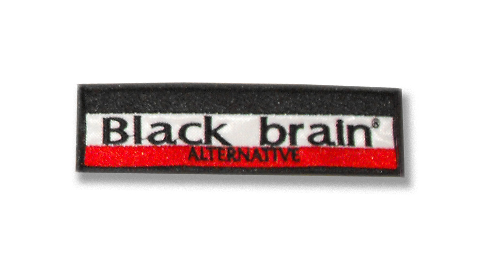 BLACK BRAIN Black/white/red Patches