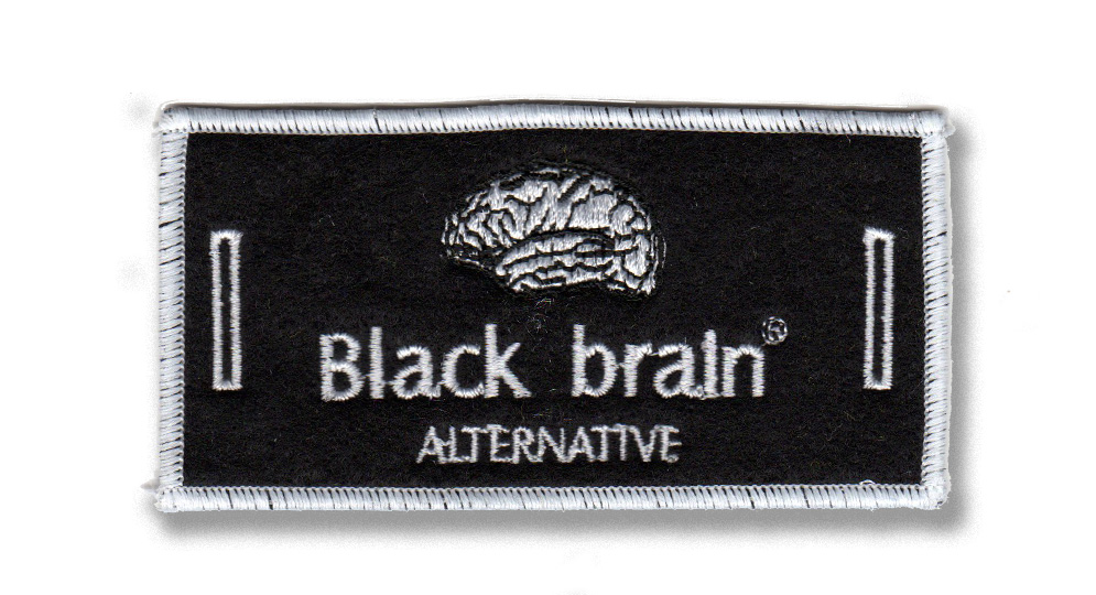BLACK BRAIN LABEL FO BUTTONS Patches