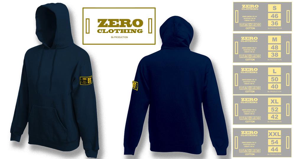FELPA CAPPUCCIO BLU NOTTE Zero Clothing