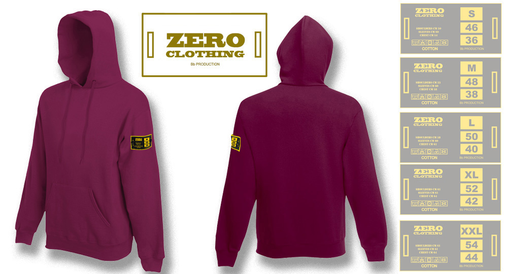 FELPA CAPPUCCIO BORDEAUX Zero Clothing