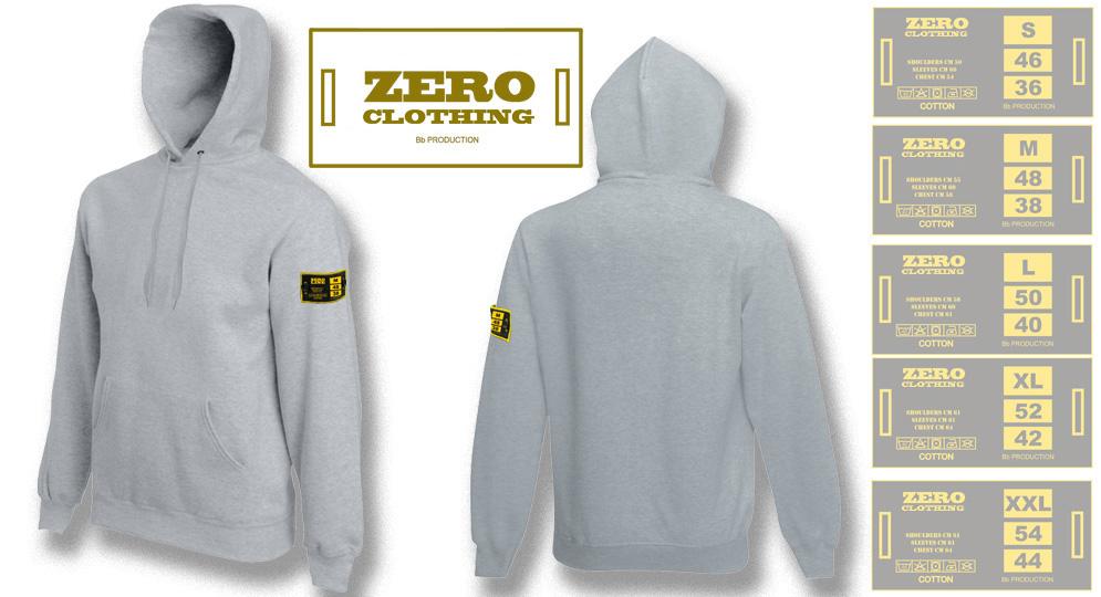 FELPA CAPPUCCIO GRIGIO Zero Clothing