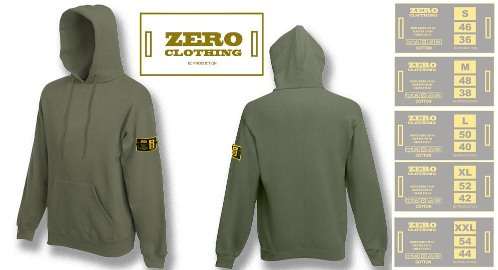FELPA CAPPUCCIO VERDE OLIVA Zero Clothing