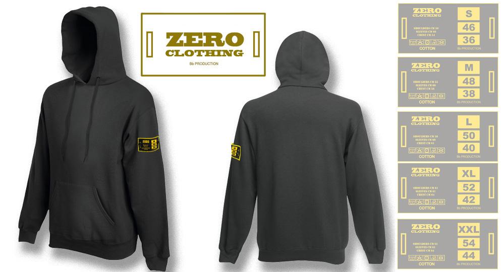 FELPA CAPPUCCIO ANTRACITE Zero Clothing