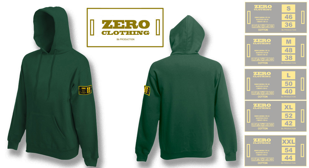 FELPA CAPPUCCIO VERDE BOTTIGLIA Zero Clothing