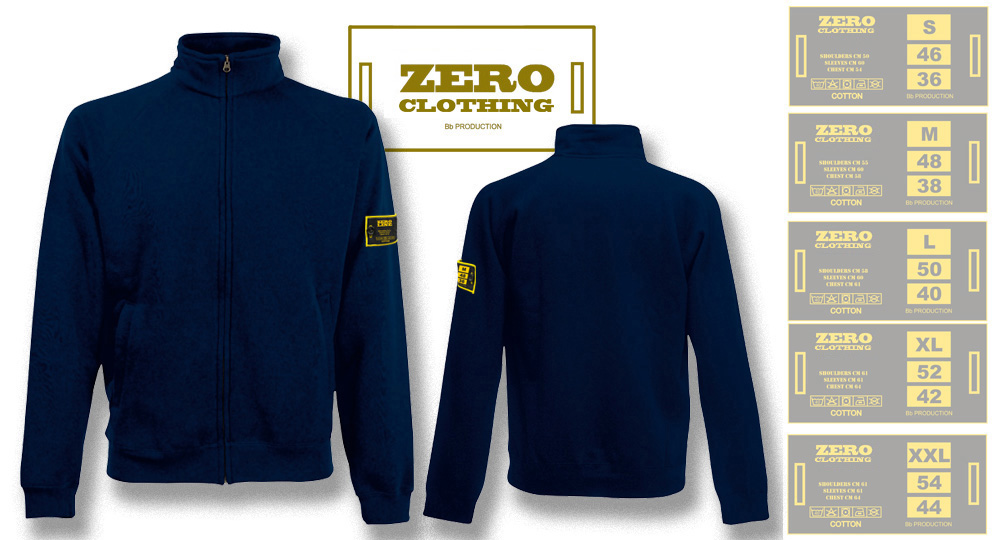 FELPA FULL ZIP BLU NOTTE Zero Clothing