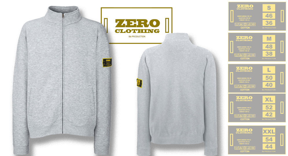 FELPA FULL ZIP GRIGIO Zero Clothing