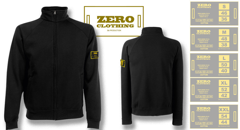 FELPA FULL ZIP NERA Zero Clothing