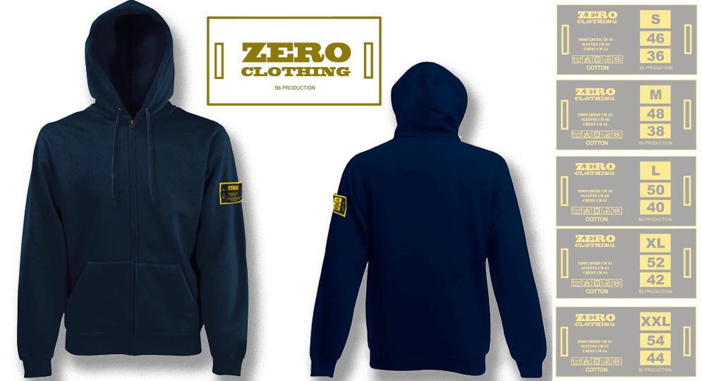FELPA CAPPUCCIO FULL ZIP BLU NOTTE Zero Clothing