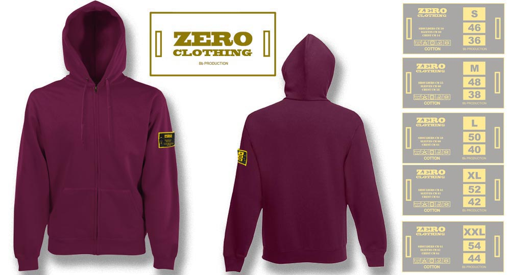 FELPA CAPPUCCIO FULL ZIP BORDEAUX Zero Clothing