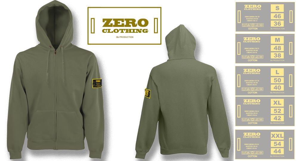 FELPA CAPPUCCIO FULL ZIP VERDE OLIVE Zero Clothing