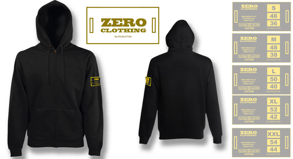FELPA CAPPUCCIO FULL ZIP NERA Zero Clothing