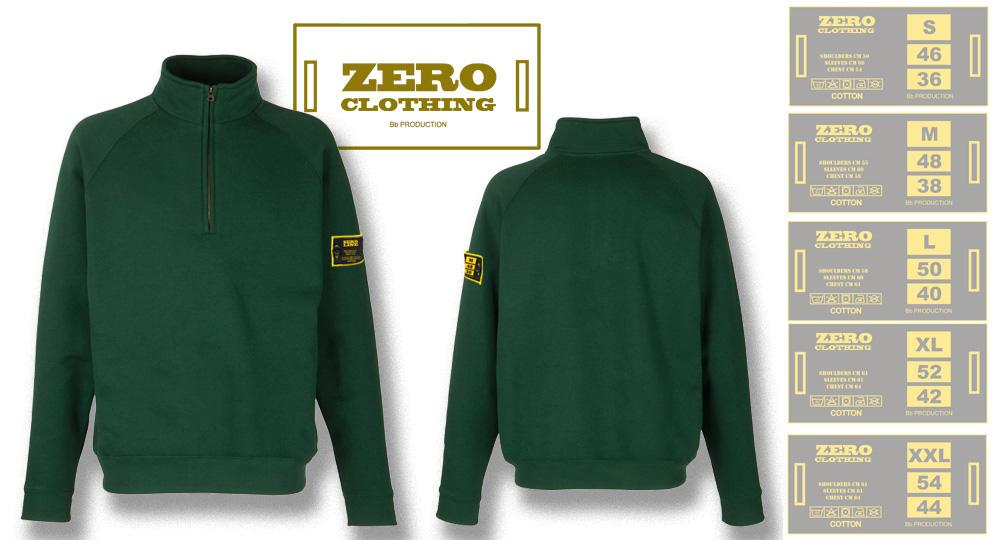 FELPA MEZZA ZIP VERDE BOTTIGLIA Zero Clothing