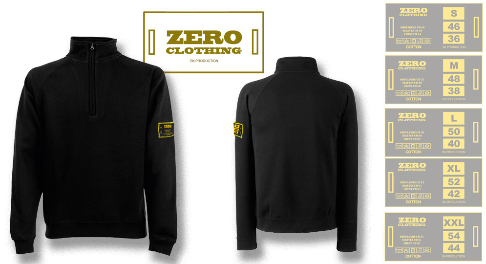 FELPA MEZZA ZIP NERA Zero Clothing