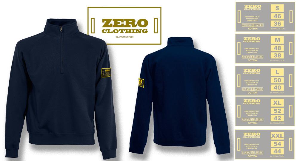 FELPA MEZZA ZIP BLU NOTTE Zero Clothing