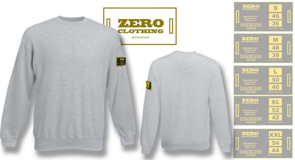 FELPA GIROCOLLO GRIGIO Zero Clothing