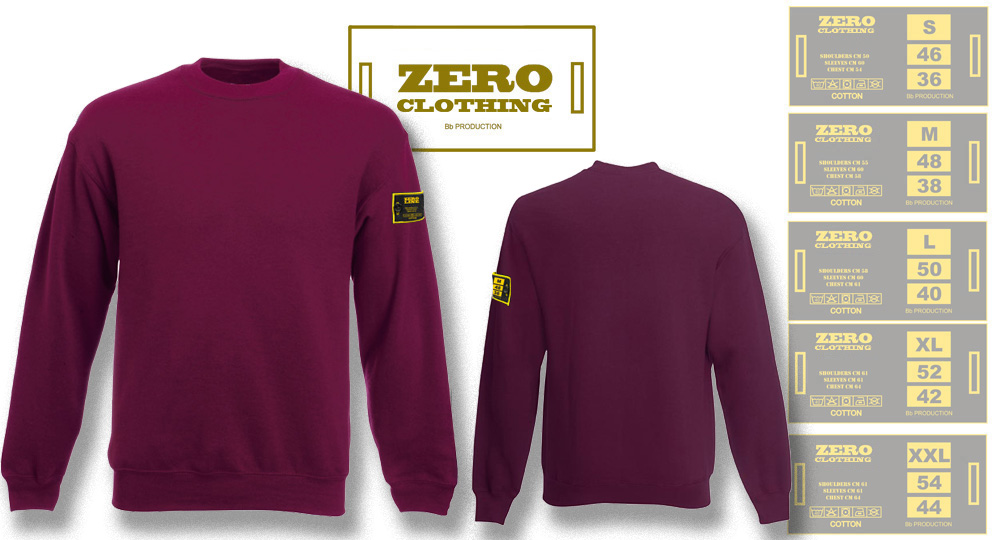 FELPA GIROCOLLO BORDEAUX Zero Clothing