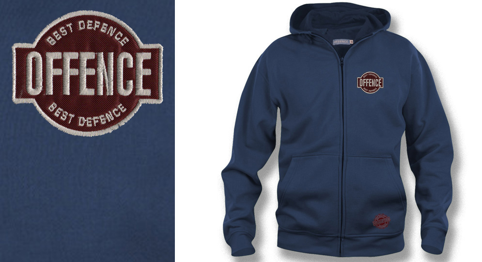 HOODY ZIP OFFENCE BEST DEFENCE DARK BLUE Offence best defence