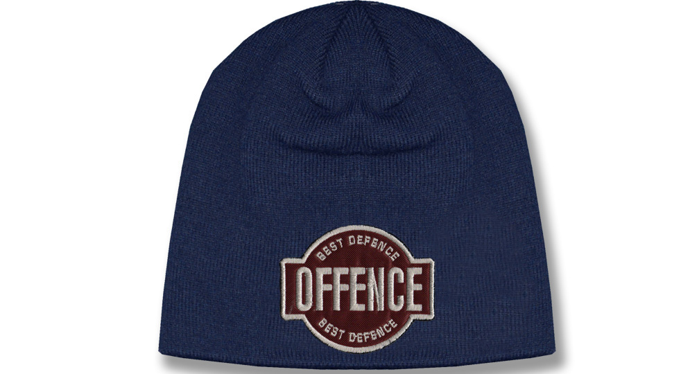 BEANIE OFFENCE BEST DEFENCE BLUE Offence best defence