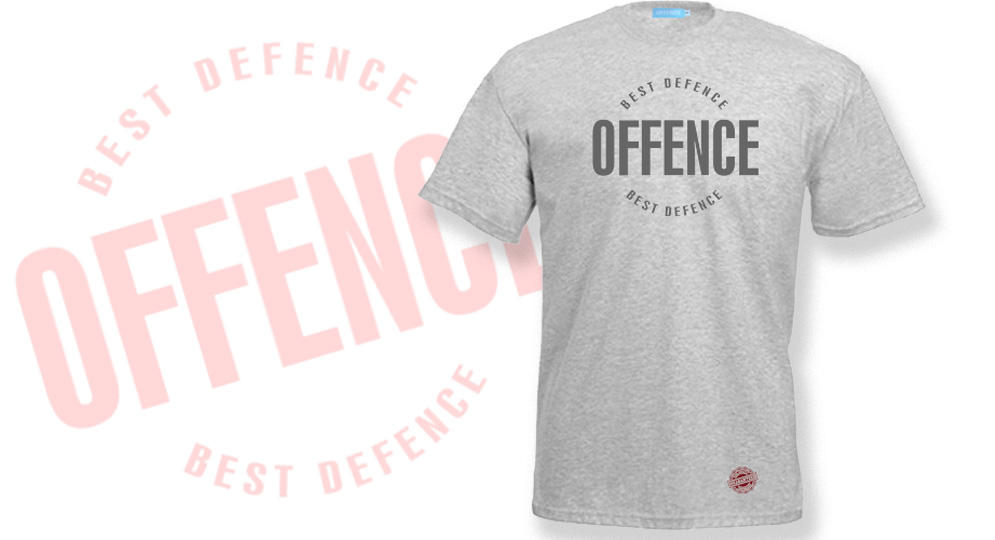 T-SHIRT OFFENCE BEST DEFENCE GREY Offence best defence