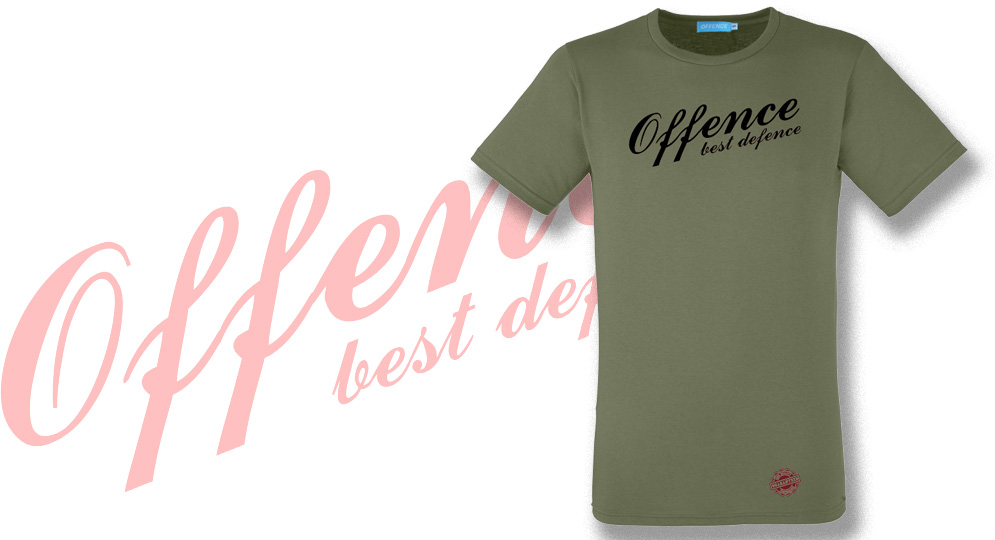 T-SHIRT OFFENCE BEST DEFENCE OLIVE Offence best defence