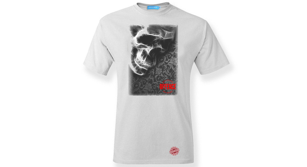 T-SHIRT OFFENCE BEST DEFENCE SKULL