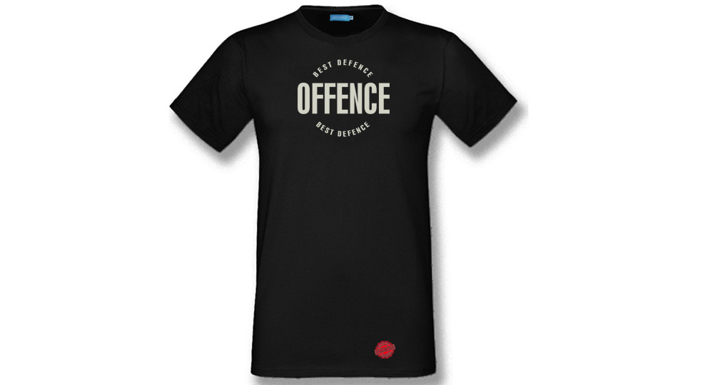 T-SHIRT OFFENCE BEST DEFENCE BLACK CIRCLE Offence best defence