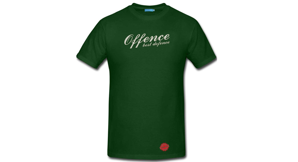 T-SHIRT OFFENCE BEST DEFENCE DARK GREEN