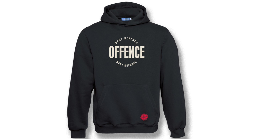 HOODY OFFENCE BEST DIFENCE Circle BLACK