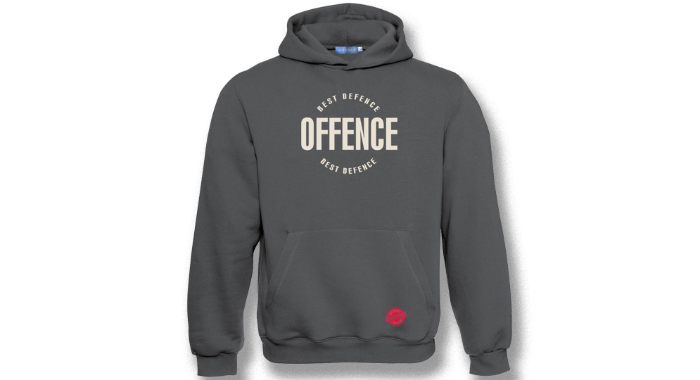 HOODY OFFENCE BEST DIFENCE Circle GREY