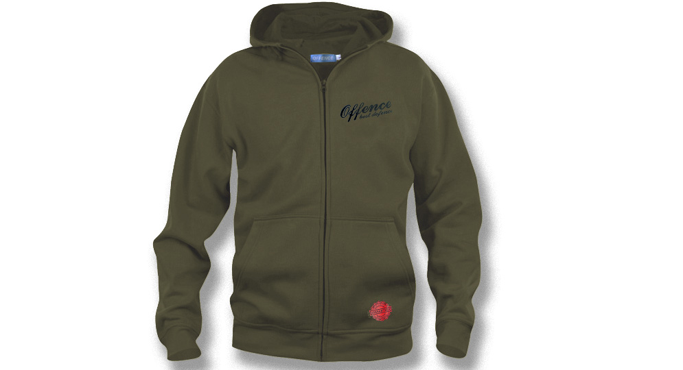 HOODY ZIP OFFENCE BEST DIFENCE OLIVE Offence best defence