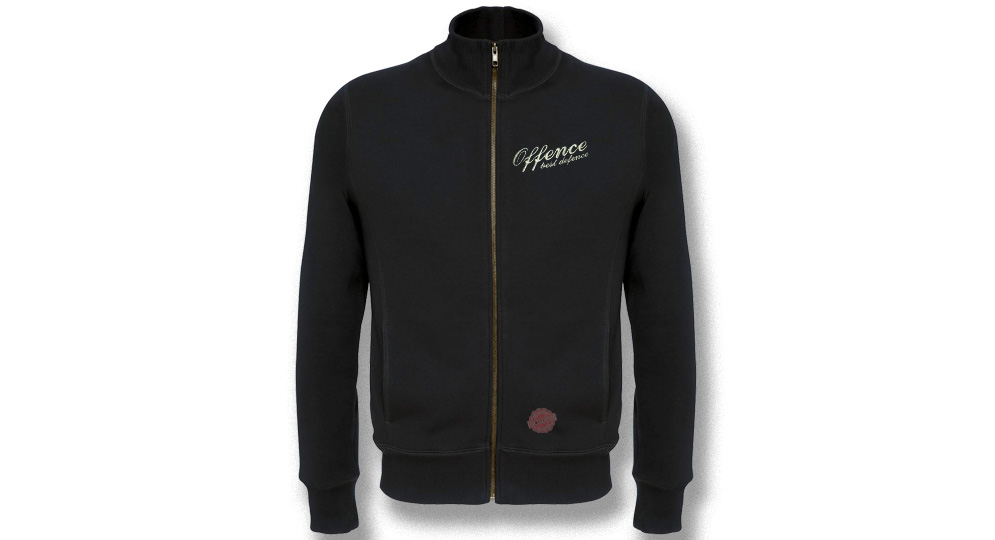 FULL ZIP SWEAT OFFENCE BEST DEFENCE BLACK Offence best defence