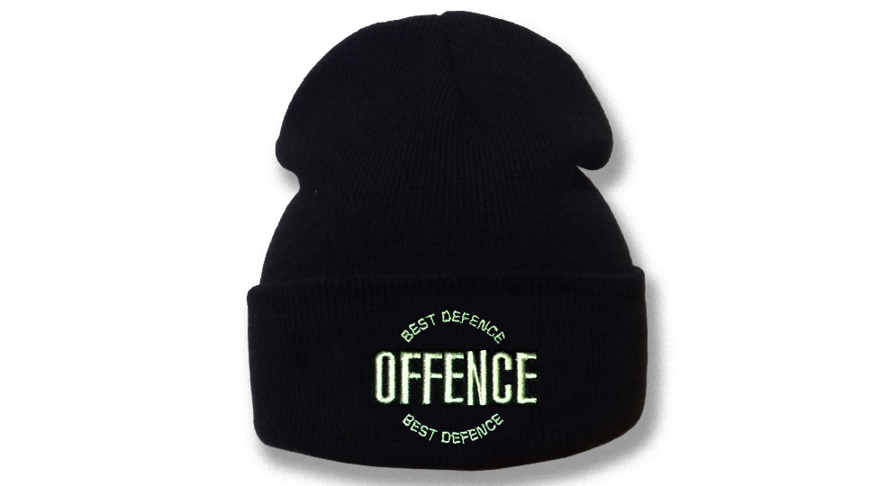 BEANIE OFFENCE BEST DEFENCE CIRCULAR BLACK Offence best defence