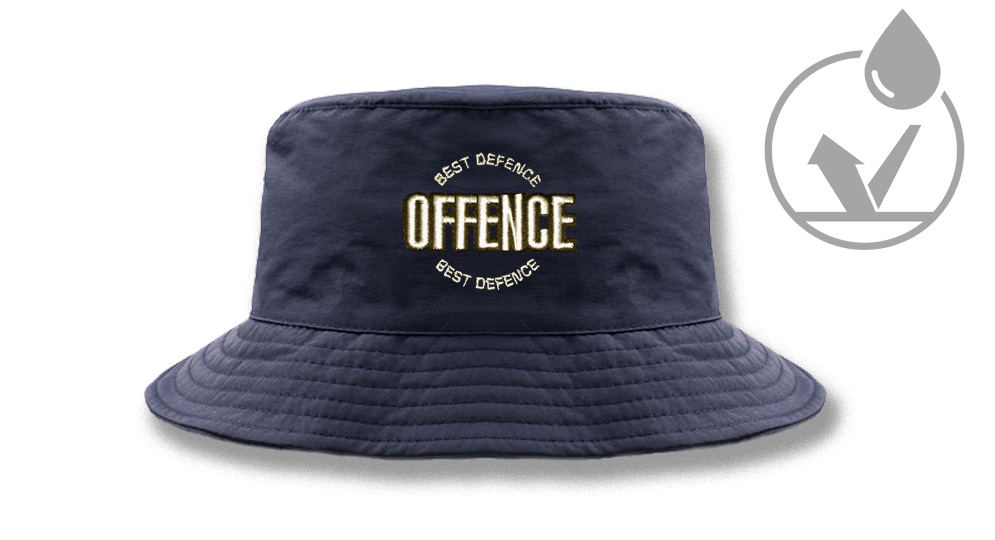 FISHERMAN WINTER HAT OFFENCE BEST DIFENCE CIRCULAR NAVY Offence best defence