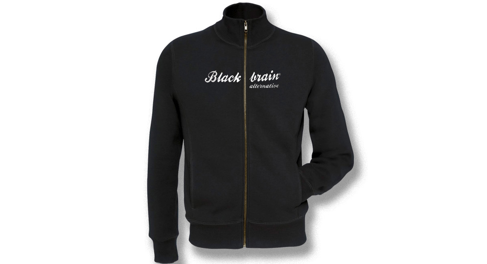 SWEATSHIRT JACKET Full Zip BLACK BRAIN Italic Sweats