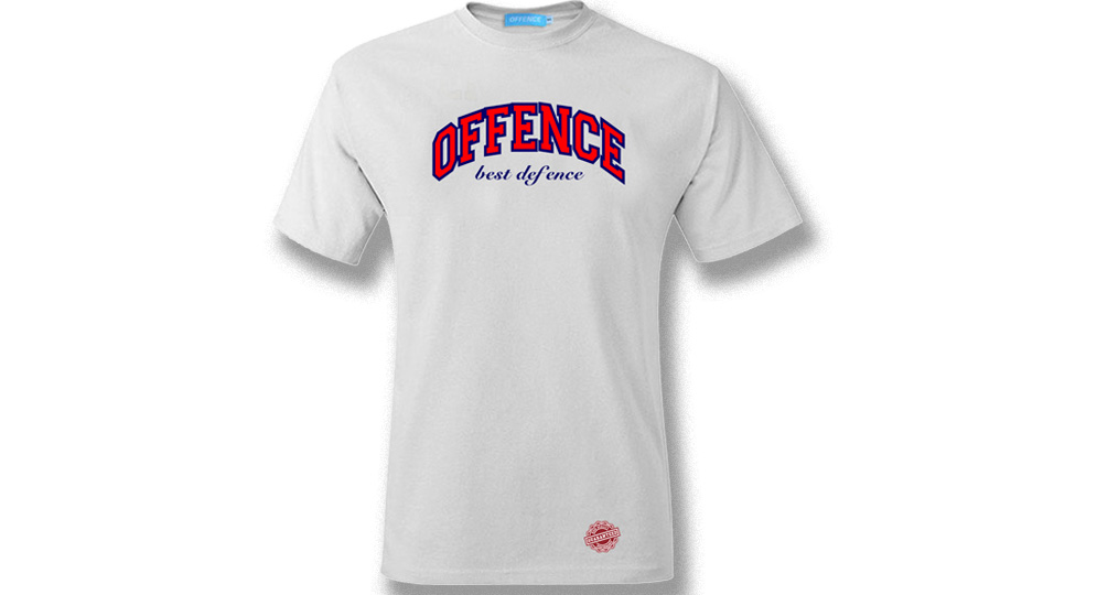 T-SHIRT OFFENCE BEST DEFENCE NEW GENERATION WHITE Offence best defence