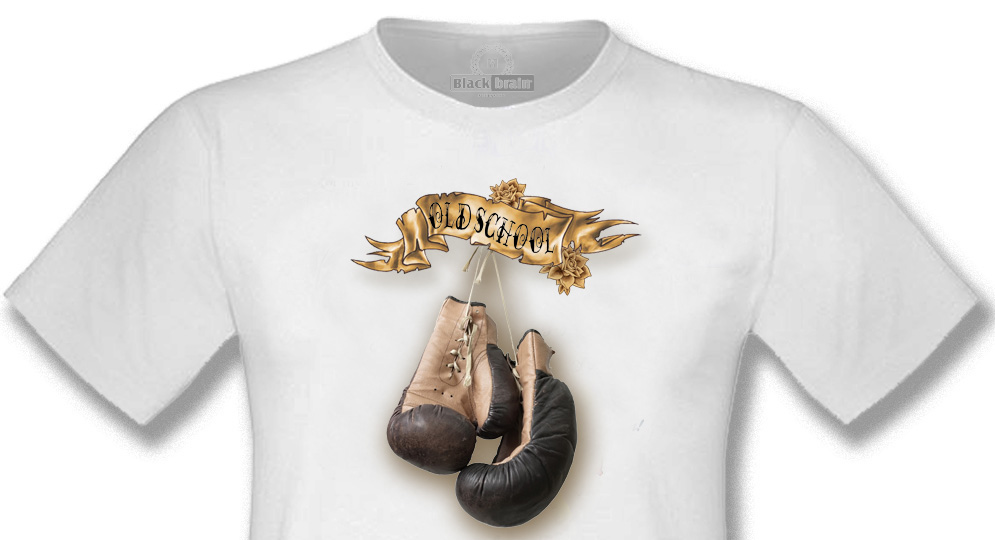 T-SHIRT OLD SCHOOL BOXING GLOVES WHITE T-shirts