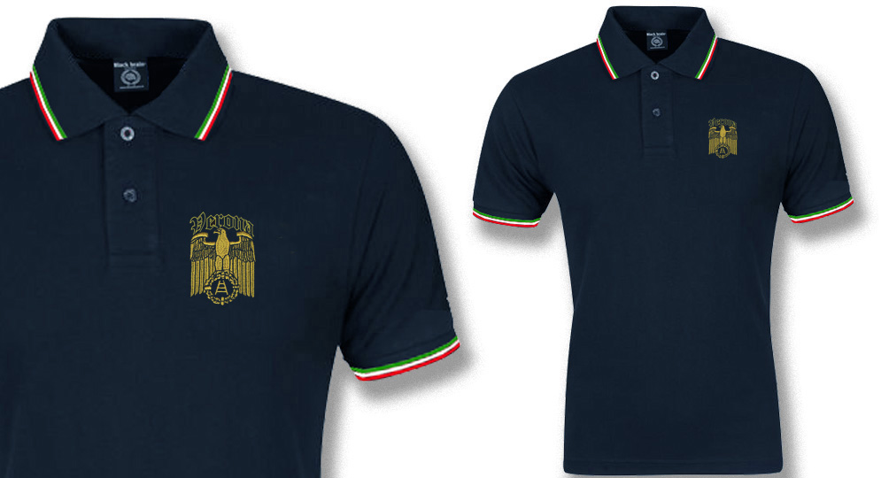 POLO BLU TRICOLORE AQUILA VERONA IMPERO Polos Pullovers Shirts