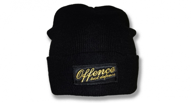 BEANIE OFFENCE BEST DEFENCE BLACK/YELLOW Offence best defence