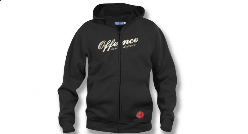HOODY FULL ZIP OFFENCE BEST DEFENCE FRONT BLACK Offence best defence