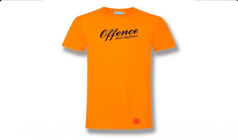 T-SHIRT OFFENCE BEST DEFENCE ORANGE/BLACK Offence best defence