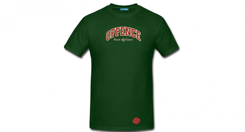 T-SHIRT OFFENCE BEST DEFENCE NEW GENERATION GREEN Offence best defence