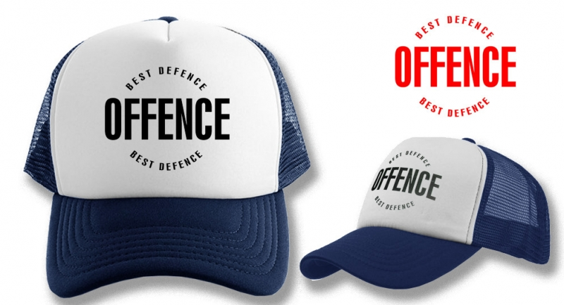 TRUCKER CAP OFFENCE BEST DEFENCE DARK BLUE