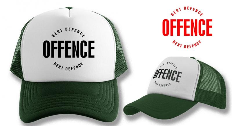 TRUCKER CAP OFFENCE BEST DEFENCE DARK GREEN
