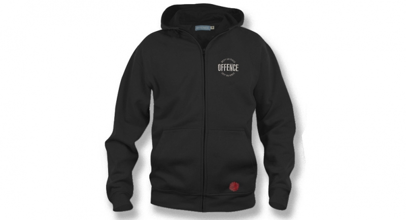 HOODY ZIP OFFENCE BEST DEFENCE CIRCLE BLACK
