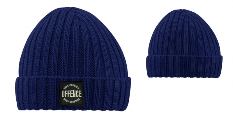 BEANIE OFFENCE BEST DEFENCE CIRCLE COSTS BLUE Offence best defence
