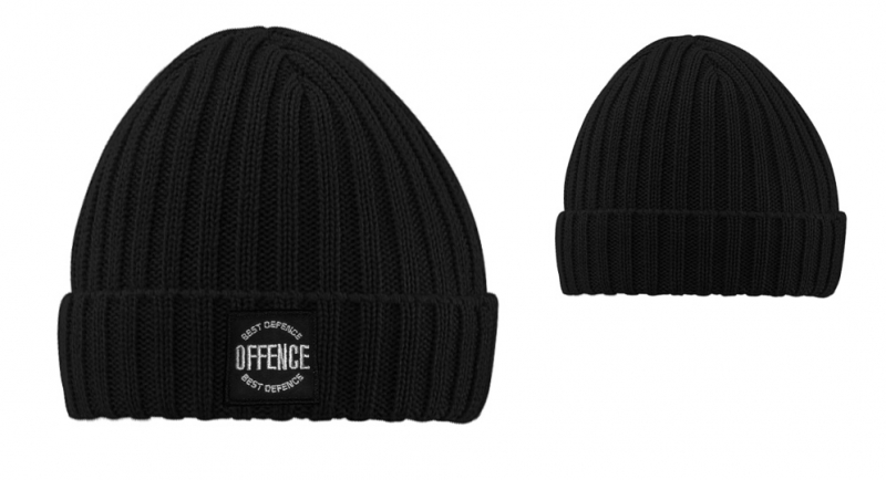 BEANIE OFFENCE BEST DEFENCE CIRCLE COSTS BLACK Offence best defence