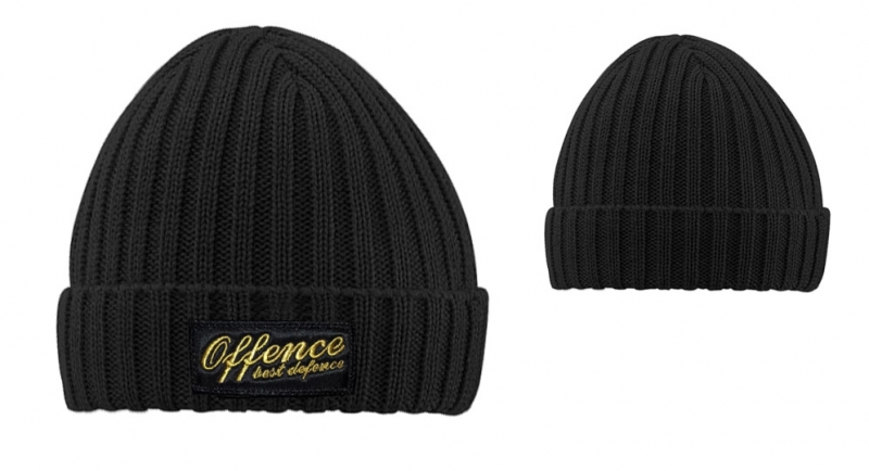 BEANIE OFFENCE BEST DEFENCE  COSTS BLACK/YELLOW Offence best defence