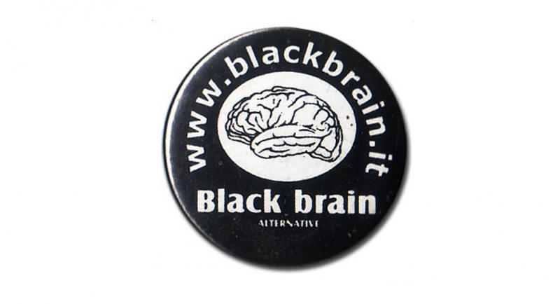 BUTTON PIN BLACK BRAIN Pins & Stickers