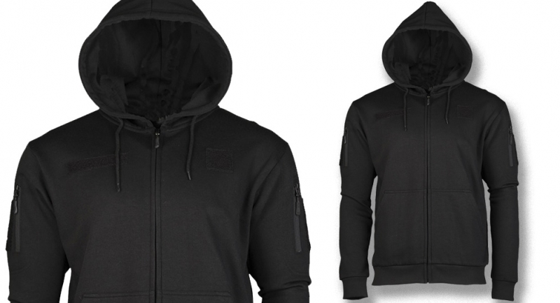 HOODY FULL ZIP TACTICAL VELCRO PATCH BLACK Sweaters & Hoodies
