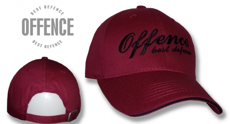 BASEBALL CAP OFFENCE BEST DEFENCE BORDEAUX Offence best defence